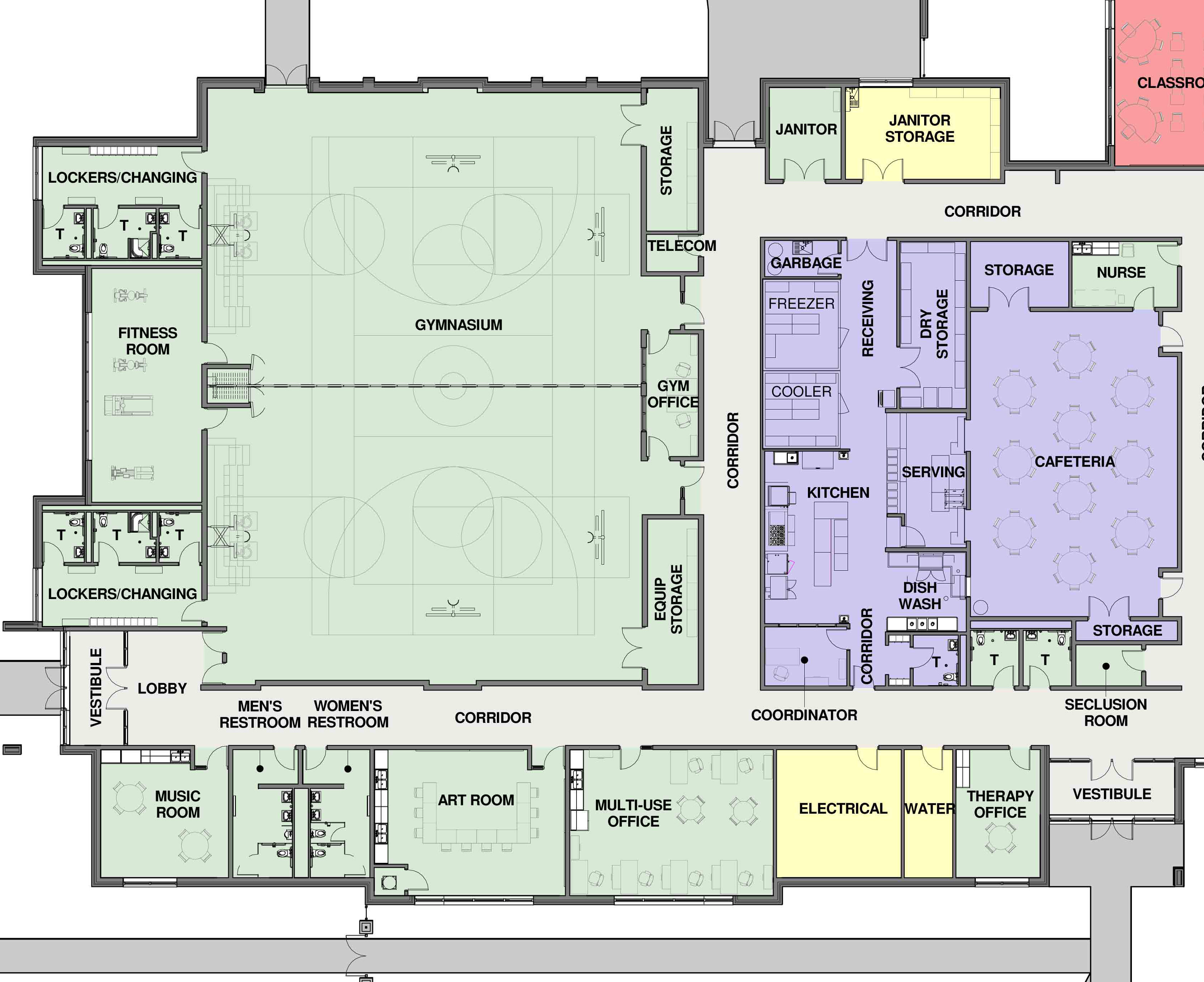 Henson gymnasium and cafeteria floor plan cunningham for Basketball gym floor plan