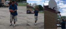 Kaleb spends his free time shooting hoops.